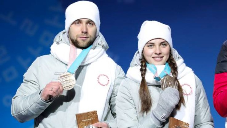 Alexander Krushelnitsky and Anastasia Bryzgalova who were officially stripped of their Bronze medal